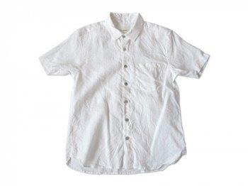 RINEN 60/1リネン平織 レギュラーカラー半袖シャツ 01WHITE〔メンズ〕
