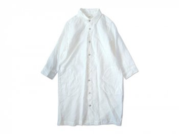 RINEN 60/1リネン平織 レギュラーカラー七分袖ロングシャツ 01WHITE〔レディース〕