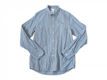 maillot sunset small collar stripe shirts BLUE
