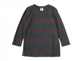 maillot WIDE BORDER 7分袖Tシャツ BROWN x CHARCOAL