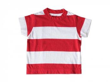 【Kid's】 homspun WIDEボーダー 半袖Tシャツ レッド x ホワイト