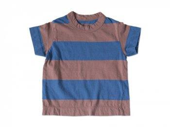 【Kid's】 homspun WIDEボーダー 半袖Tシャツ ブラウン x ブルー
