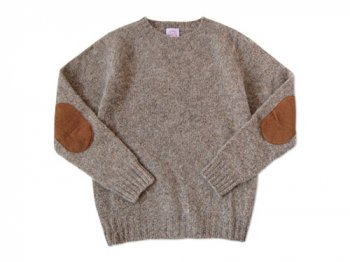 BRICK CREW NECK KNIT パッチ付き COBBLE STONE