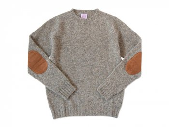 BRICK CREW NECK KNIT パッチ付き MUSHROOM