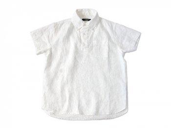 LOLO リネンB.D.半袖プルオーバーシャツ WHITE