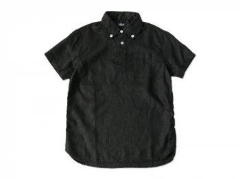 LOLO リネンB.D.半袖プルオーバーシャツ BLACK