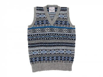Jamieson's V NECK VEST LIGHT GRAY x BLUE