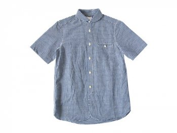 maillot sunset gingham round work S/S shirts BLUE x WHITE