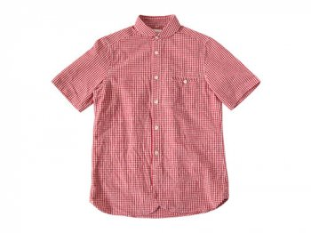 maillot sunset gingham round work S/S shirts RED x WHITE