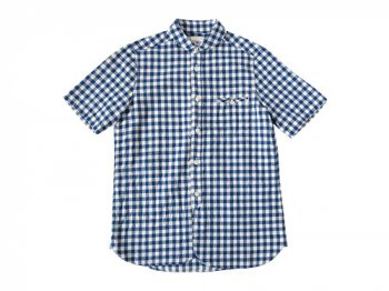 maillot sunset big gingham round work S/S shirts BIG BLUE x WHITE
