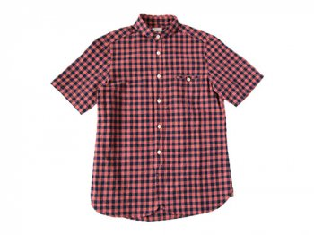 maillot sunset big gingham round work S/S shirts BIG RED x NAVY