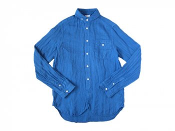 maillot sunset linen round work shirts BLUE