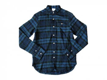 maillot sunset linen check new work shirts BLUE