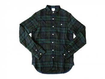 maillot sunset linen check new work shirts GREEN