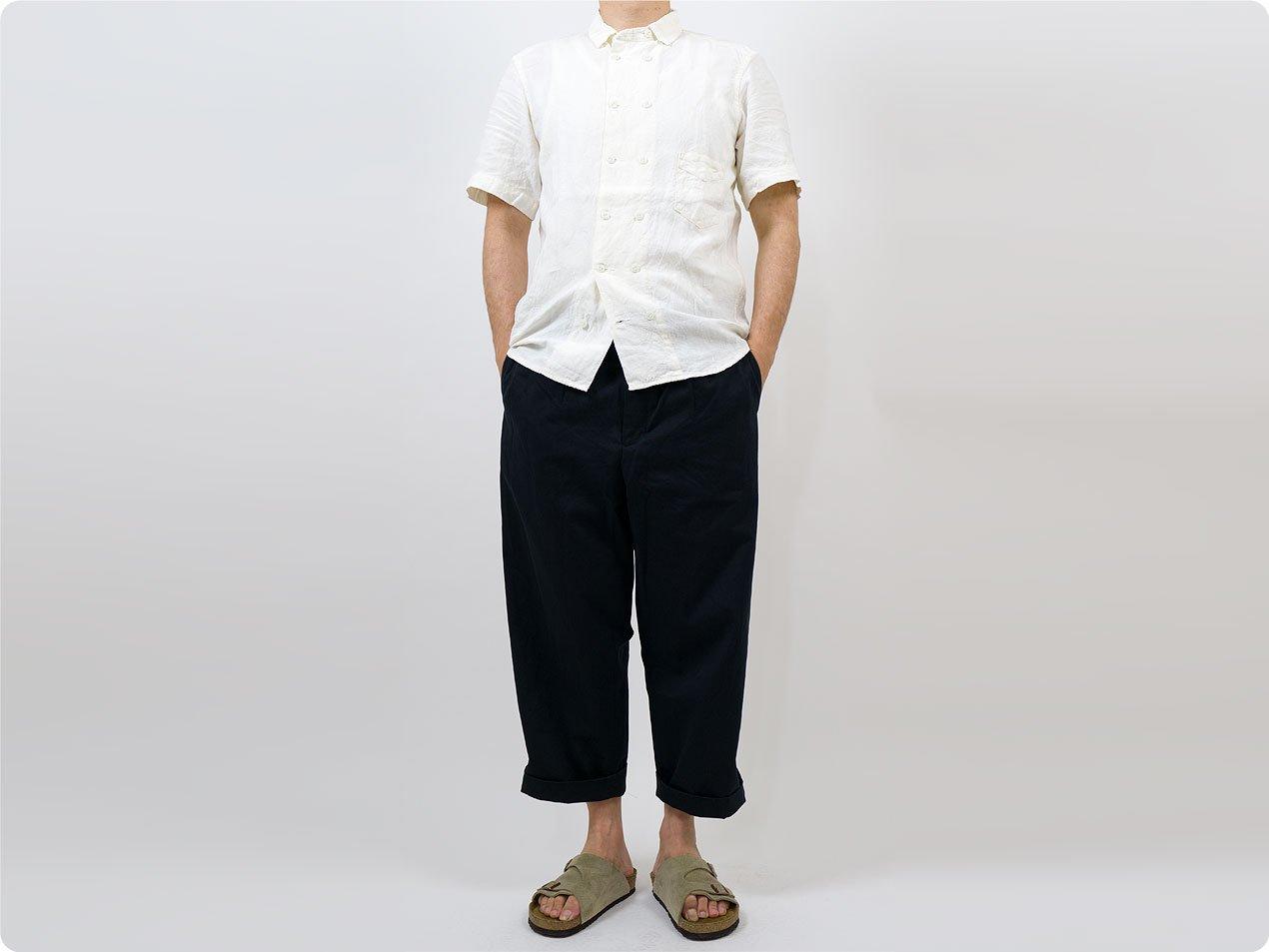 【別注】 TATAMIZE DOUBLE BRESTED LINEN S/S SHIRTS OFF WHITE