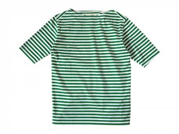 Charpentier de Vaisseau Middle Stripe Boat Neck Tee GREEN x WHITE