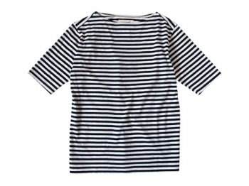 Charpentier de Vaisseau Middle Stripe Boat Neck Tee NAVY x WHITE