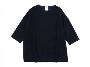 maillot wool melton 3/4 sleeve trainer NAVY