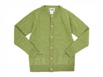 Charpentier de Vaisseau Shetland Crew Cardigan LIGHT GREEN