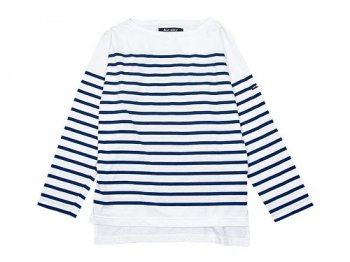 Le minor by DAILY WARDROBE INDUSTRY ボートネックカットソー SATURDAY(WHITE x MARINE)