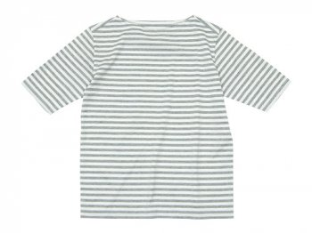 Charpentier de Vaisseau Middle Stripe Boat Neck Tee GRAY x WHITE