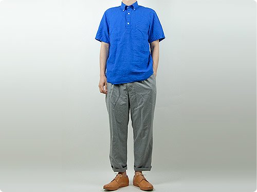 STANDART AT HAND Scott リネン半袖シャツ BLUE
