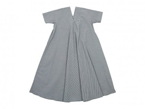 Lin francais d'antan Varda(ヴァルダ)tent dress WHITE x BLACK CHECK