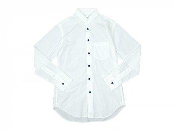 EEL 陶器釦のラウンドカラーシャツ 11WHITE
