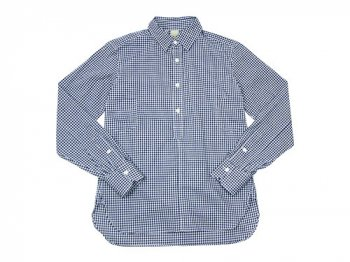 TATAMIZE P/O SHIRTS Plain NAVY GINGHAM