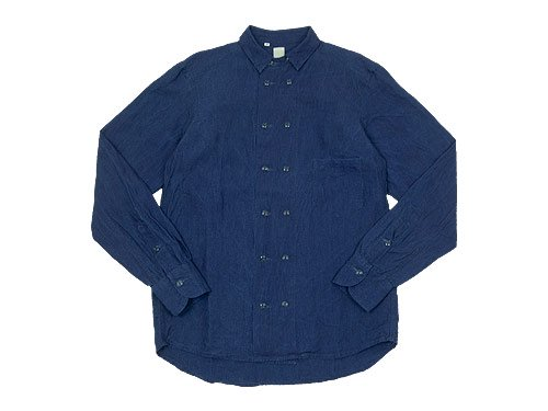 TATAMIZE DOUBLE BRESTED LINEN SHIRTS INDIGO