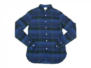 maillot linen check work shirts BLUE