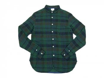 maillot linen check work shirts GREEN
