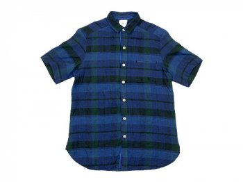 maillot linen check smile S/S shirts BLUE