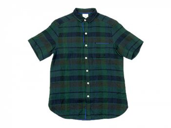 maillot linen check smile S/S shirts GREEN