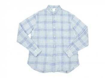 maillot check stripe linen regular shirts BLUE CHECK