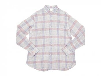 maillot check stripe linen regular shirts PINK CHECK