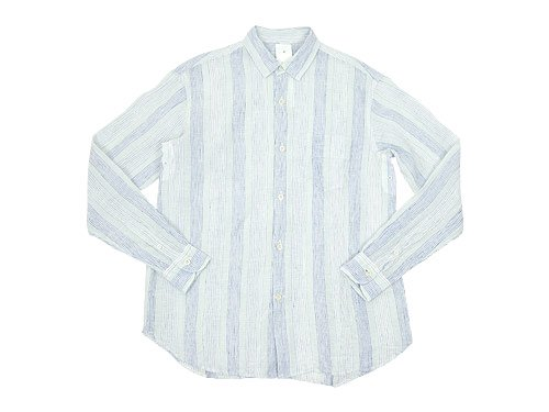 maillot check stripe linen regular shirts BLUE STRIPE
