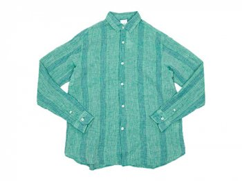 maillot check stripe linen regular shirts GREEN STRIPE
