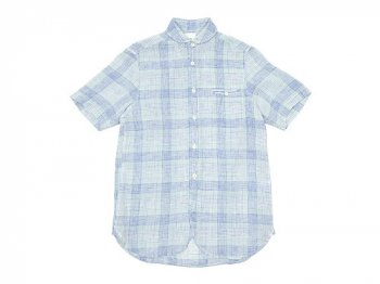 maillot check stripe linen work S/S shirts BLUE CHECK