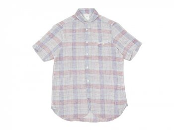 maillot check stripe linen work S/S shirts PINK CHECK