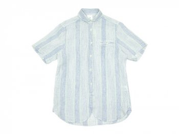 maillot check stripe linen work S/S shirts BLUE STRIPE