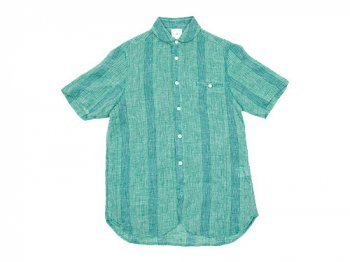 maillot check stripe linen work S/S shirts GREEN STRIPE