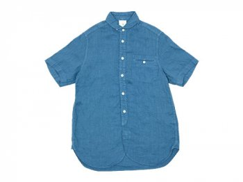 maillot sunset linen round work S/S shirts SLATE BLUE