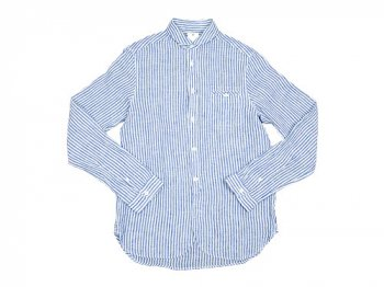 maillot linen stripe work shirts BLUE