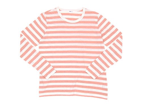 maillot ライトボーダー長袖Tシャツ PEACH