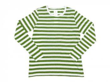 maillot ライトボーダー長袖Tシャツ TEA GREEN