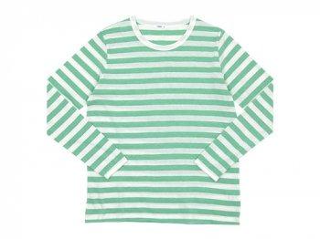 maillot ライトボーダー長袖Tシャツ MINT