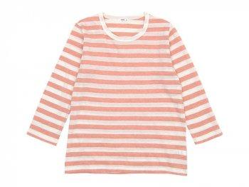 maillot ライトボーダー7分袖Tシャツ PEACH