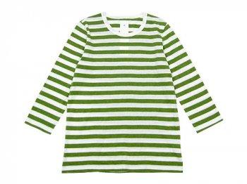 maillot ライトボーダー7分袖Tシャツ TEA GREEN