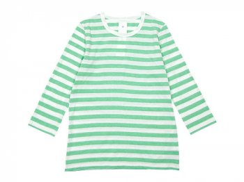 maillot ライトボーダー7分袖Tシャツ MINT